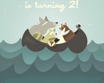 5X7 Children's birthday nautical themed invitations features woodland animals at sea