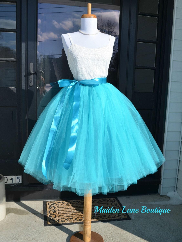 Womens Midi Tutu aqua Tulle skirt Turquoise tulle skirt