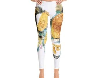 watercolour digitally printed Leggings  Yoga Leggings,Yoga Clothes, Yoga Wear, Printed Leggings, Womens Leggings, Womens Activewear