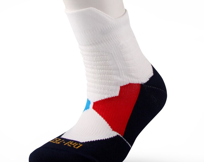 Samson® Dri-Tec Running Socks Above Ankle Cushioned Sport Walking Athletic Cycling Navy White