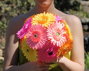 Gerbera daisy bouquet, Choose your colors! Paper bouquet, Wedding bouquet, Anniversary, Gift, Paper Gerbera daisies