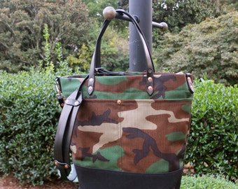 Waxed Canvas Tote Bag with Leather Handles/Shoulder Strap/Zipper Closure - Large Camo & Black Color Blocked Tote