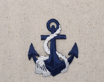Nautical - Blue Anchor - White Rope - Iron on Applique - Embroidered Patch - 695647-F