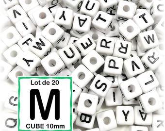 "20 beads 10 mm - 10mm cube letter beads alphabet ""M"""