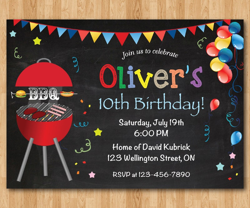 BBQ Birthday Invitation. Kids Chalkboard BBQ Barbecue Birthday