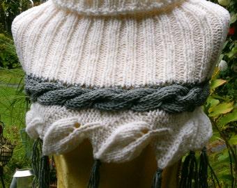 Knitting Schulterwärmer white with grey Plait Gr. 36-38 (S-m)