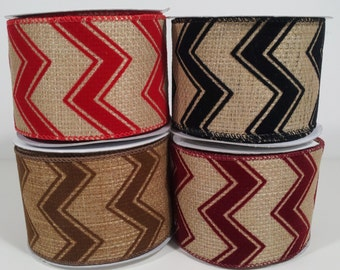"2 1/2"" Burlap Velvet Chevron Ribbon - 10 Yards"
