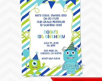 Monsters Inc 1st Birthday Invitation