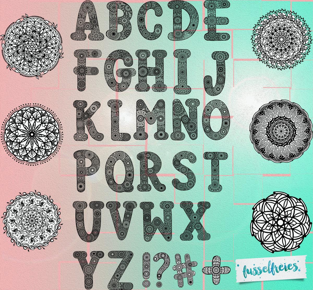 Plotterdatei Serie Fusselfreies Alphabet Mandala Style ABC