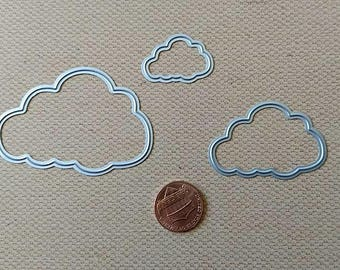Scalloped Puffy Cloud Metal Cutting Die Set 3pc