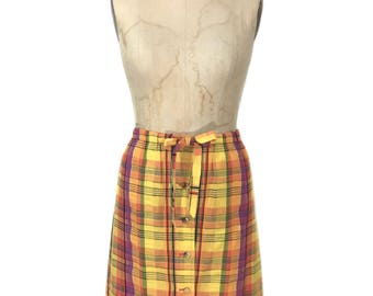 vintage 1970's button front plaid skirt / Summit of Boston / spring summer / cotton / women's vintage skirt / size medium