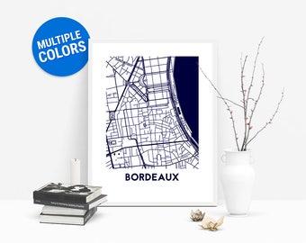 Bordeaux Full Color Map Print   Bordeaux France Map   Bordeaux Art