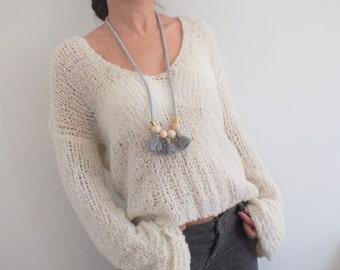 Ivory loose knit sweater V neck sweater boho sweater lightweight sweater alpaca wool