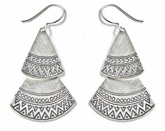 Handmade Sterling Silver Long Ethnic Gypsy Bohemian Statement Earrings, Two Triangular Leaves with Tribal Geometric Engravings, Gift for her