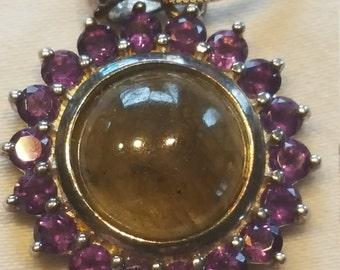 Sterling Silver  Gemstones Pendant & Sterling Silver Chain