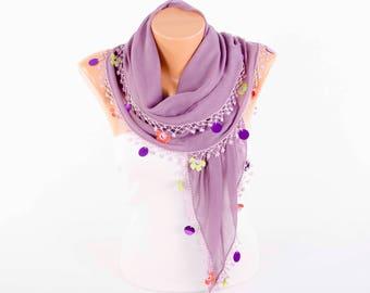 Turkish oya scarf , turkish yemeni , summer scarf with hand crocheted lace circles and tassel ,purple lilacs