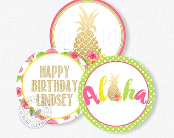 """Pineapple Party Centerpiece Circles, Luau Birthday Decorations, Pineapple Table Decor, Printable 4"""" Party Circles"""