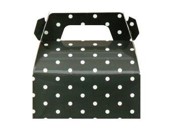 10 Black Polka Dot Gable Boxes Black Party Boxes Gable Favors Boxes Black Favor Box Black Polka Dot Boxes Black Party Favors Black Party Box