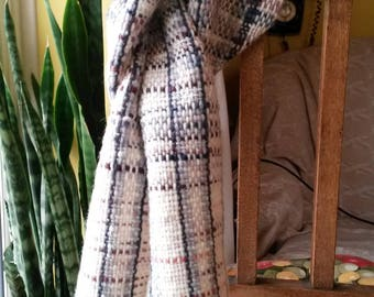 Cosy Hand Woven Scarf - Cream with greys,blues,and brown yarn
