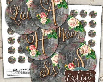 Rose Initial, Collage Sheet, Monogram, Alphabet, Bottlecap Images, Family Names, 1 inch Circles, Digital Circles, 1 inch rounds