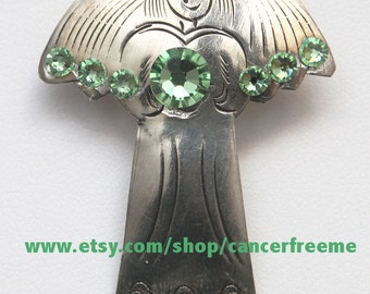 Lymphoma Awareness Angel Pin or Brooch, Cancer Awareness, Jewelry, Green, Crystals, Handmade, Angels, Gift for Her