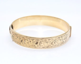 9ct Gold BRONZE CORE Hinged Bangle Bracelet Made by GILERCO 33.6g Vintage Jewelry 1960s