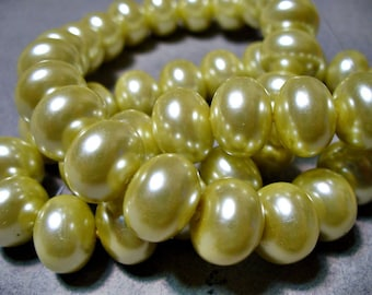 Glass Pearls Butter Rondelle 12x8MM