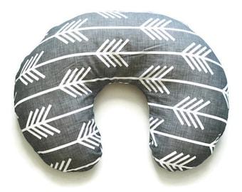 Nursing Pillow Cover Grey Arrow- Nursing Pillow Cover -  Arrow Boppy Cover - Soft Minky Boppy Cover - Grey Cover - Organic Boppy