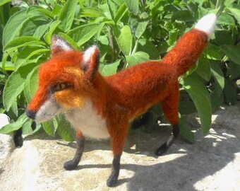 felted red fox, felt fox sculpture, large red fox, needle felted fox, wild animal fox, collectible fox, fox fiber art, dog fox