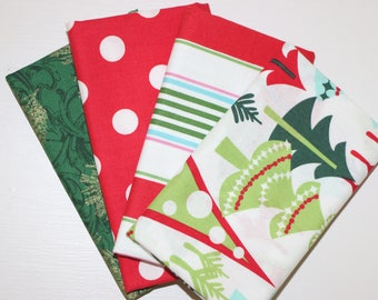 Christmas - 4 Fat Quarters - green, red, white - cotton fabric