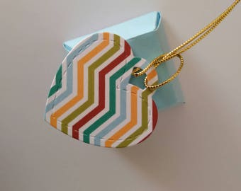 """Customizable Gift Hang Tag """"Chevron Heart"""" gift in cardboard card favor wedding birth baptism First Communion"""