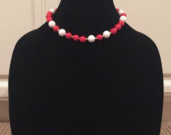 1960s Inspired Large Red and White Stone Beaded Necklace