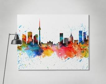 Toronto print, canvas print, Toronto watercolor skyline, Toronto Ontario canvas print, Wall canvas, Home decor, Travel print, ArtPrintCanvas