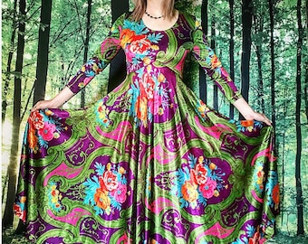 1970s Psychedelic Rainbow Floral Brocade Silky Huge Sweep Maxi Dress
