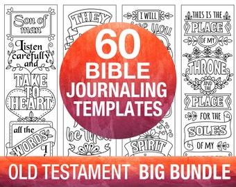 60 bible journaling printable templates, OLD TESTAMENT, illustrated faith journaling, bible verse study bookmarks stickers, prayer journal