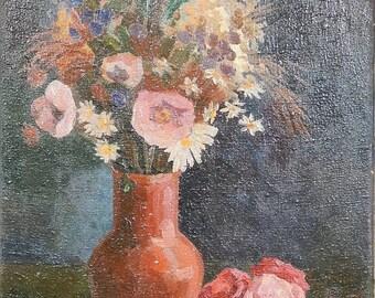 Subscription, 1930. Floral Still Life. Oil painting on canvas. Soviet Ukrainian Art. Vintage Artwork (1569)