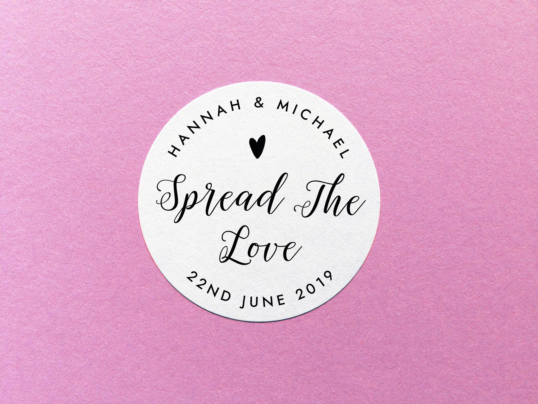Spread The Love Sticker, Wedding Jam Sticker, Wedding Favour ...