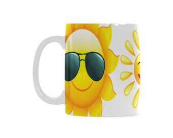 Sunny Day White Ceramic Coffee Mug (White) 11 oz.