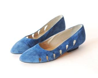 vintage Italian blue suede shoes / size 8