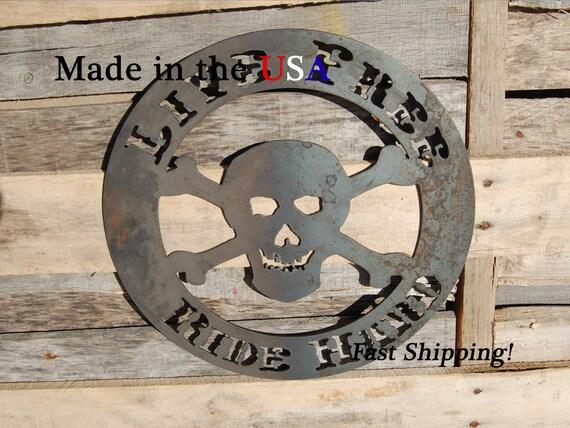 Skull Man Cave Decor : Live free ride hard with skull man cave decor western font