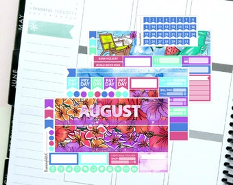 Summer/Tropical August Monthly Kit Planner Sticker Kit for Erin Condren Life Planners