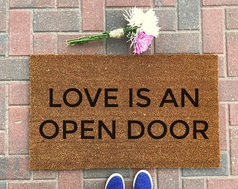 open door welcome mat. Love Is An Open Door Doormat / Cute Welcome Mat Funny Outdoor Rug