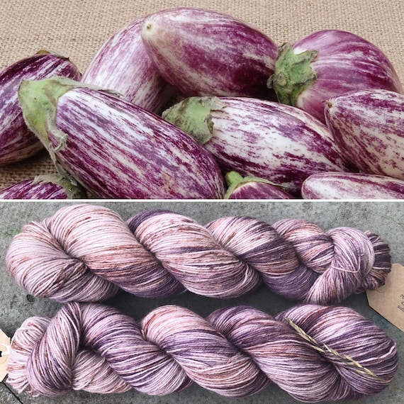 Speckled Aubergine BFL, bluefaced leicester nylon sock yarn