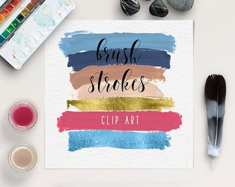 Hand Painted Brush Strokes Clip Art, Brush Stroke Clipart, Paint Graphic Elements, Instant Download, Commercial Use, Coupon Code: BUY5FOR8
