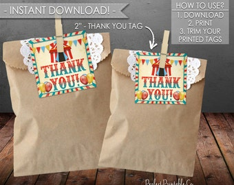 Carnival Thank You Tags, Carnival Favor Tags, Circus Thank You Tags, Circus Favor Tags, Birthday, Baby Shower, Boy, Instant Download #553