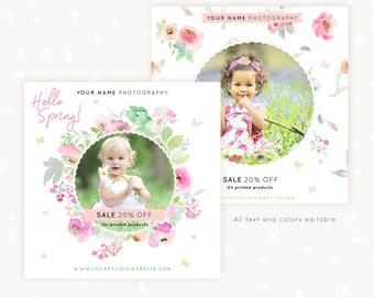 Spring Sale Social Media Templates for photographers, Facebook Template, Instagram Template, Photography marketing, Circle photo frame
