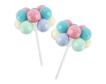 Pastel Balloon Picks - a pastel rainbow of balloon cupcake and cake toppers