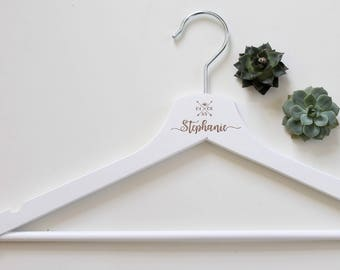 Personalized coat hanger with name and date/birthday present/