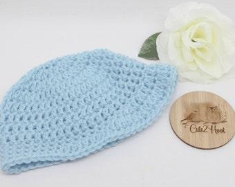 Crochet Beanie, Size 6 mths, Blue, Newborn Beanie, Baby Hat, Toddler Beanie,
