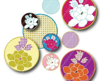 Japanese Flower 1 Inch Circles, Digital Collage Sheet, Download and Print Jpeg Images